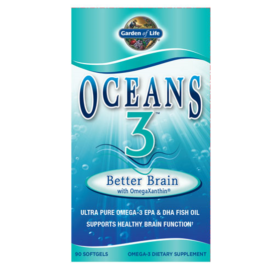 Picture of Oceans 3 Better Brain 90 Soft Gels by Garden of Life